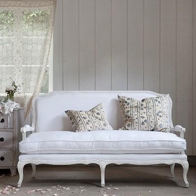 Lila Settee, White Linen