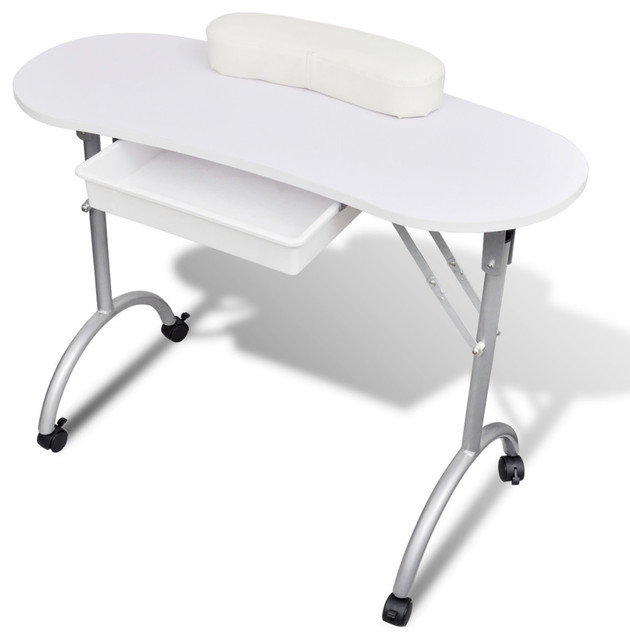 Vidaxl White Foldable Manicure Nail Table With Castors Contemporary Desks And Hutches By