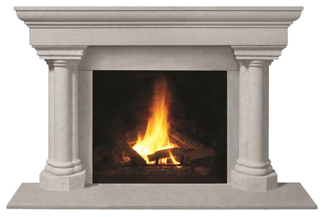 Fireplace Stone Mantel 1147.555 With Filler Panels, Natural, With Hearth Pad.