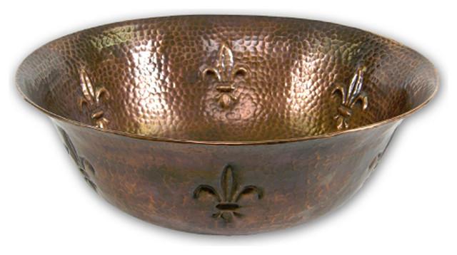 Houzer Hw-Tel1v Hammerwerks Fleur Di Lis Copper Single Bowl Lavatory Vessel Sink.