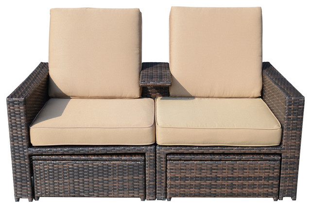 Brilliant Outsunny Outdoor 3 Piece Rattan Wicker Patio Loveseat Lounge Chair Set Alphanode Cool Chair Designs And Ideas Alphanodeonline