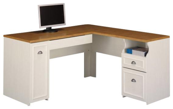 Bush Fairview L Shape Wood Computer Desk In Antique White Traditional Desks  And