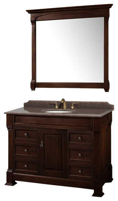 Andover 48 Vanity Round Sink 44 Mirror Dark Cherry Imperial Brown Granite.