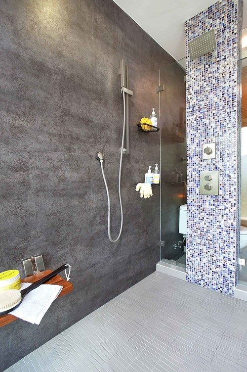 Main Shower Wall Tile Iron Grey Neolith Slab San Diego Marble Accent Jewel Stone Browse And