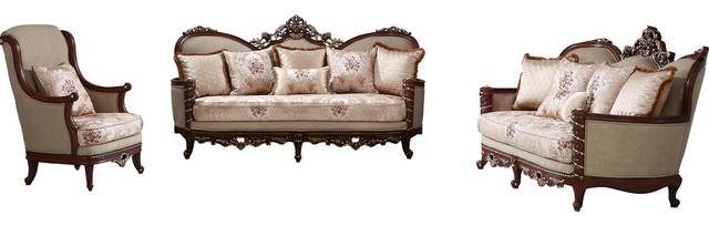 Princeton Charles Natural Floral Traditional Living Room Set ...