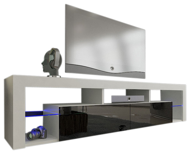 "Tv Stand Milano 200 Led Wall Mounted Floating 79"" Tv Stand, White/black."