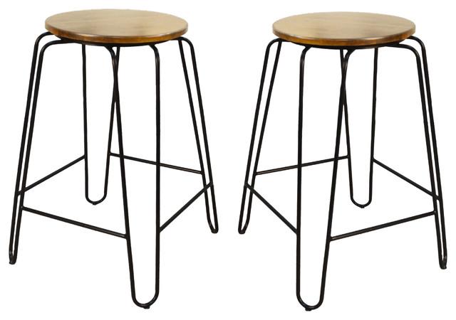 Pleasing Seattle Stacking Stools Set Of 2 Maple Black 24 Uwap Interior Chair Design Uwaporg