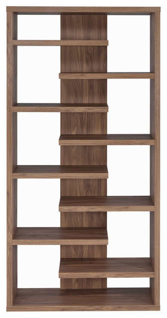 Coaster Fine Furniture Interjecting Shelf Bookcase With Center Back Panel Transitional Bookcases By Clickhere2