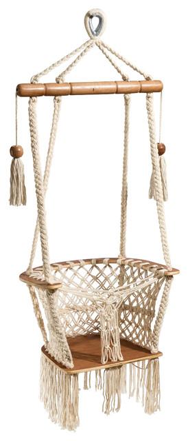 Handmade Baby Swing Organic Off White Cotton Indoor Outdoor