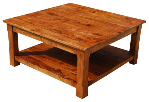 Large Square Coffee Table 2 Tier Solid Wood Furniture Rustic