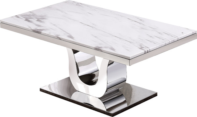 Versailles White Marble Coffee Table Contemporary