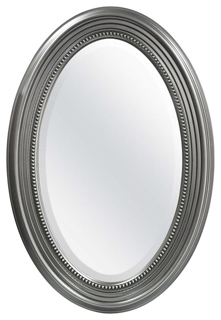 Oval Round Bathroom Mirror With Wall Hangers And Silver Frame.