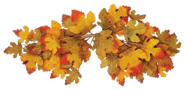 """31"""" Fall Burlap Maple Leaf Swag."""