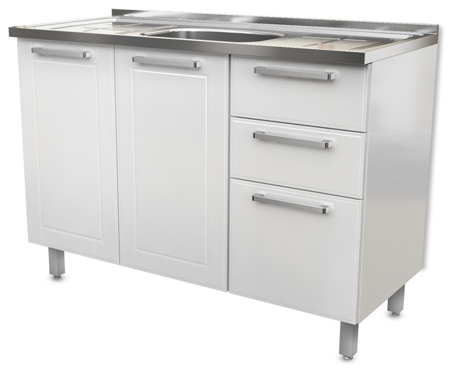 Steel Kitchen Cabinet Base 3 Doors 2 Drawers 48 W X 20 D White