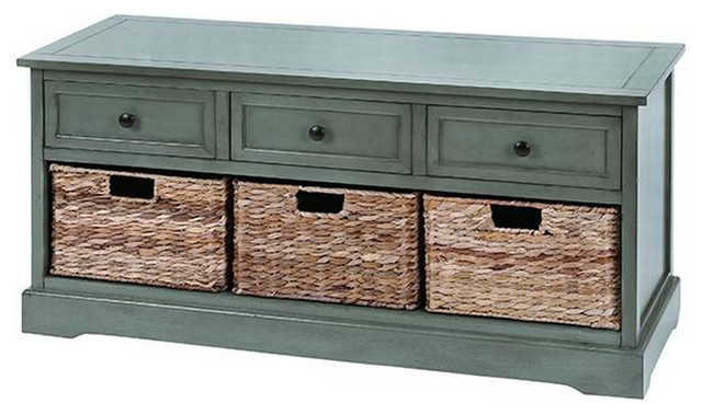 3 Wicker Basket Storage Bench, Blue Tropical Accent Chests And Cabinets