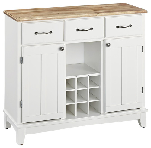 Wittman Buffet With Wood Top, White and Natural