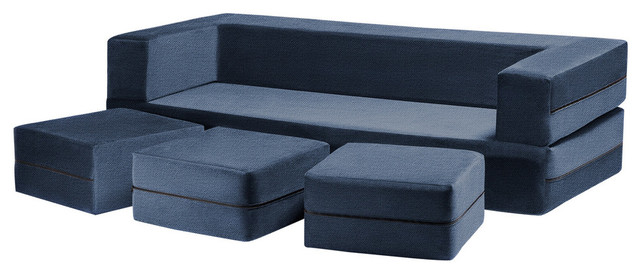 Zipline Convertible Sofa Bed and Ottomans With Washable Cover, 4-Piece Set, Mari