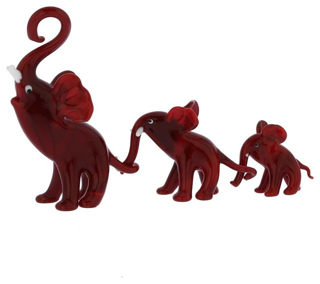 Murano Glass Elephant Family Red 3 Piece Set Decorative Objects