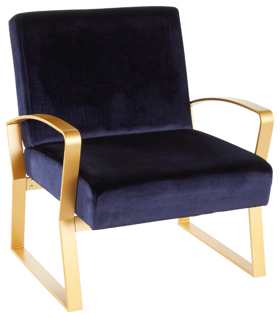 Lumisource Henley Lounge Chair, Gold Metal With Royal Blue Velvet