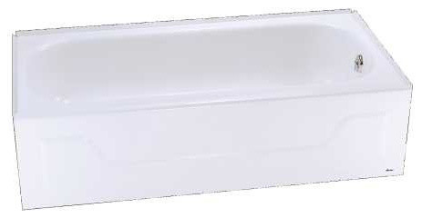 "Steel Bathtub With Left-Hand Drain, White, 30""x60""x14 1/4""."