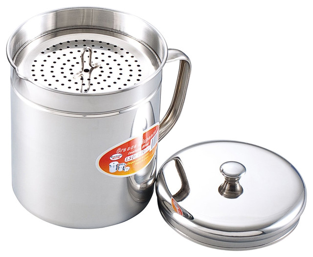 Stainless Steel Oil Storage Pot Contemporary Kitchen