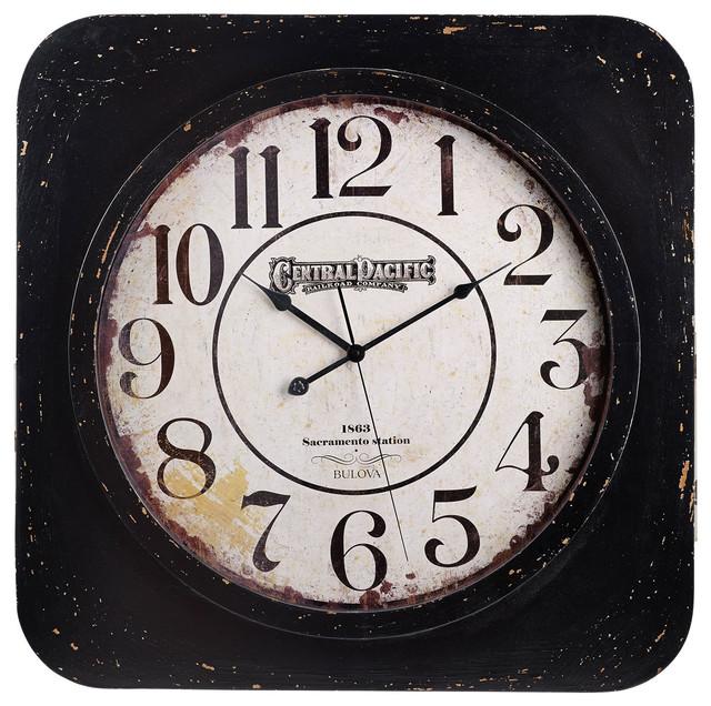 Bulova Conductor Central Pacific Railroad Large Wall Clock