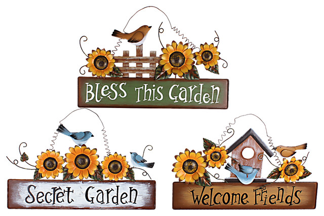 Calima Bird Wall Decor   Set Of 3 : Sunflower bird plaque set of rustic novelty signs