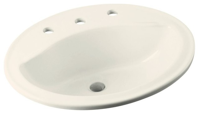 "Sterling, Bathroom Sink, Biscuit, 17""x20""x8""."