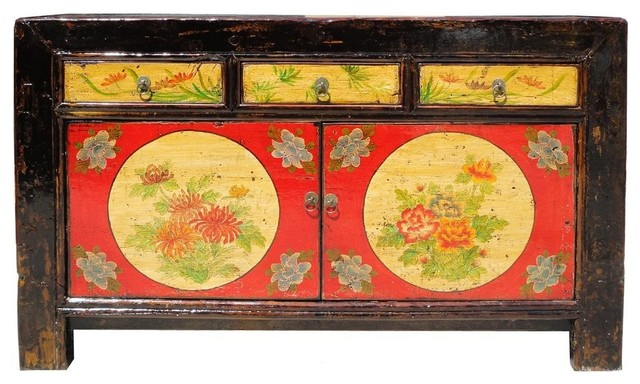 Chinese Hand Painted Full Moon U0026 Floral Motif Buffet Table Side Table Asian  Buffets