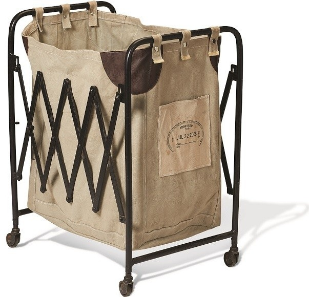 Collapsible Vintage Canvas Laundry Cart