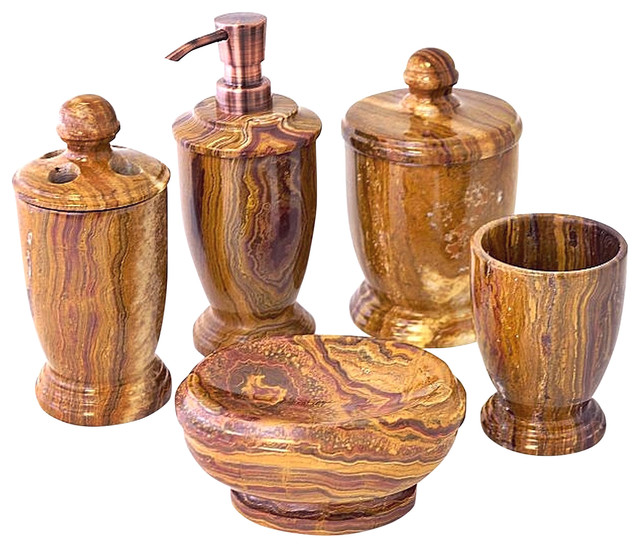 Multi Onyx Brown 5 Piece Bath Set Of