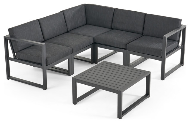 Nealie Outdoor Aluminum V Shaped 5-Seater Sectional Sofa Set With Cushions