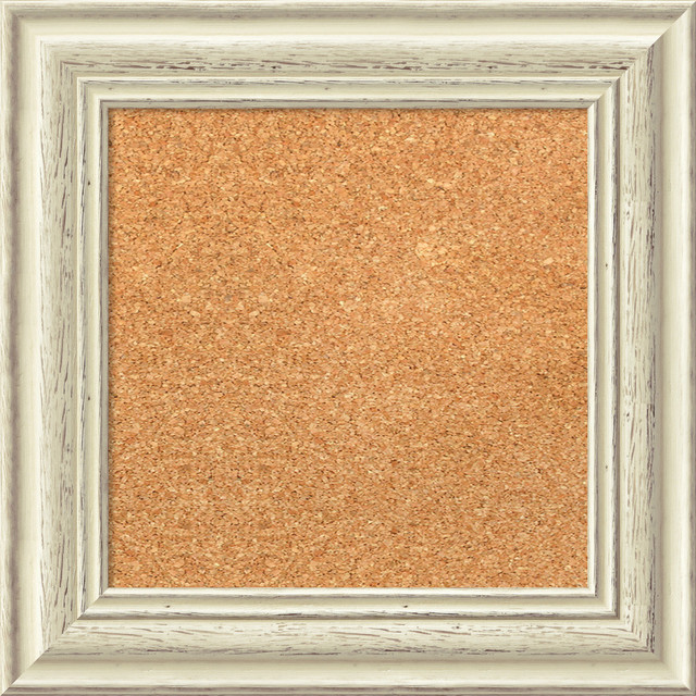Framed Cork Board Small Large Country White Wash Wood