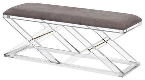 Asher Bench, Gray, Brass.