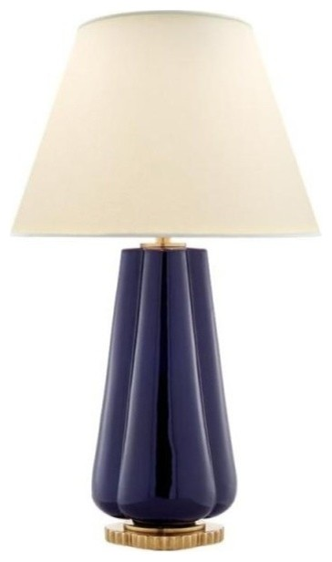 Visual comfort penelope 2 light table lamp with natural percale shade denim contemporary table