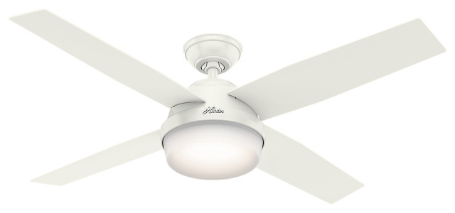 """Hunter 52"""" Dempsey Damp Fresh White Ceiling Fan With Light And Remote."""