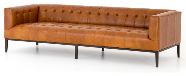 Marlin Modern Sycamore Tan Leather Tufted Low Back Sofa 96\