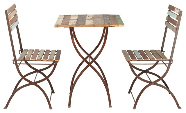 Collioure table 2 chaises de jardin en bois recycl et for Table et chaise bistrot