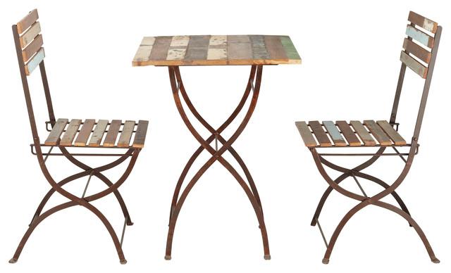 Collioure table 2 chaises de jardin en bois recycl et for Chaise bois et metal industriel