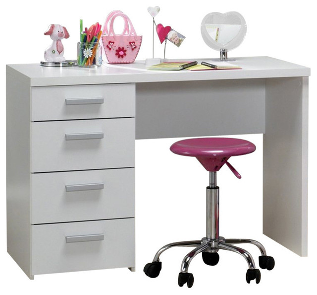 Tvilum Whitman Plus 4Drawer Desk in White Scandinavian Desks