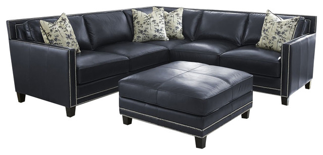Blue Leather Sectional With Silver Nailheads  : transitional sectional sofas from www.houzz.com size 640 x 308 jpeg 44kB