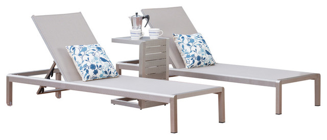 Crested Bay Grey Mesh Chaise Lounge 3 Piece Set With End Table, Silver Aluminum.