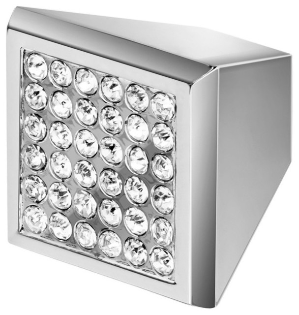Wisdom Stone Square Cabinet Knob, Chrome Knob With Crystal, Marilyn - Contemporary - Cabinet And ...