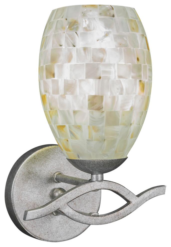 Toltec Lighting Revo 4 Light Bath Bar with 5 Gold Fusion Glass