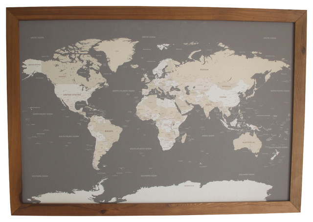 World push pin travel map with wood frame traditional bulletin world push pin travel map with wood frame charcoal gray and cream gumiabroncs Choice Image