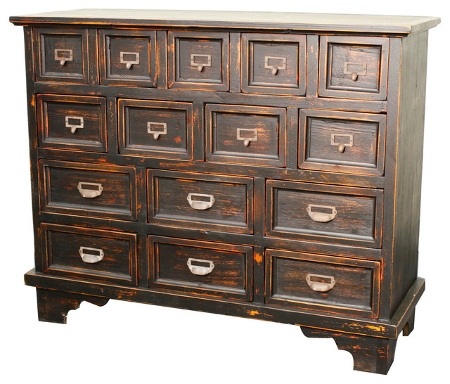 Tuscany 15-Drawer Chest, Distressed Black.