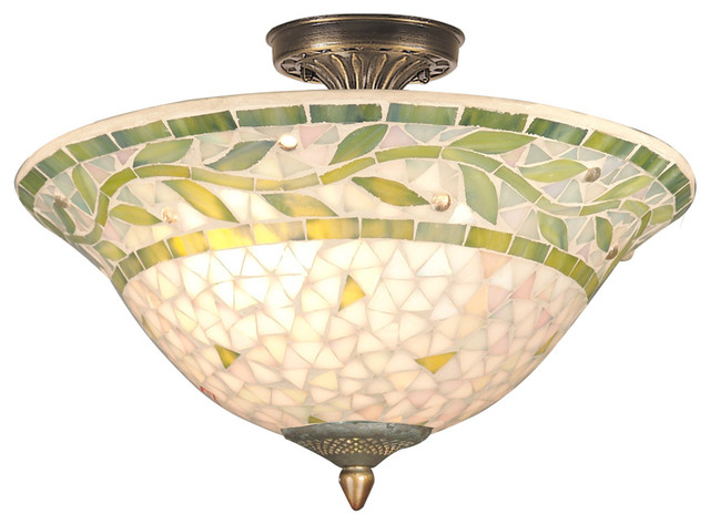 Dale Tiffany 3-Light Cadena Mosaic Flush Mount, Antique Brass.