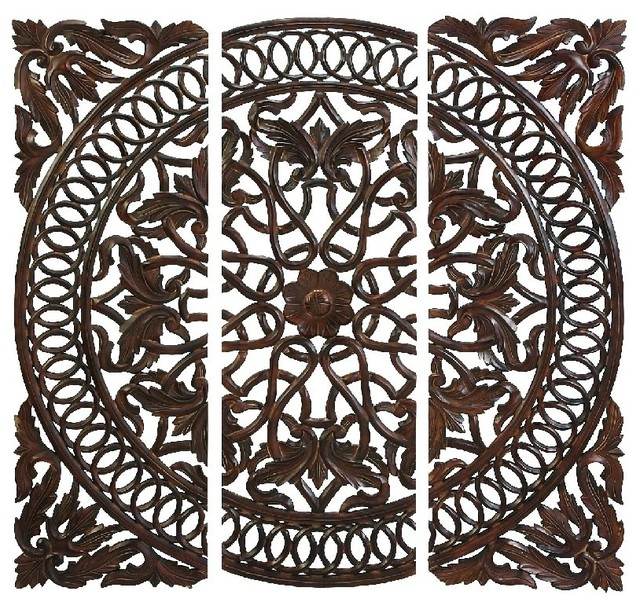 Wood Medallion Wall Decor carved wooden medallion wall panels, set of 3 - mediterranean