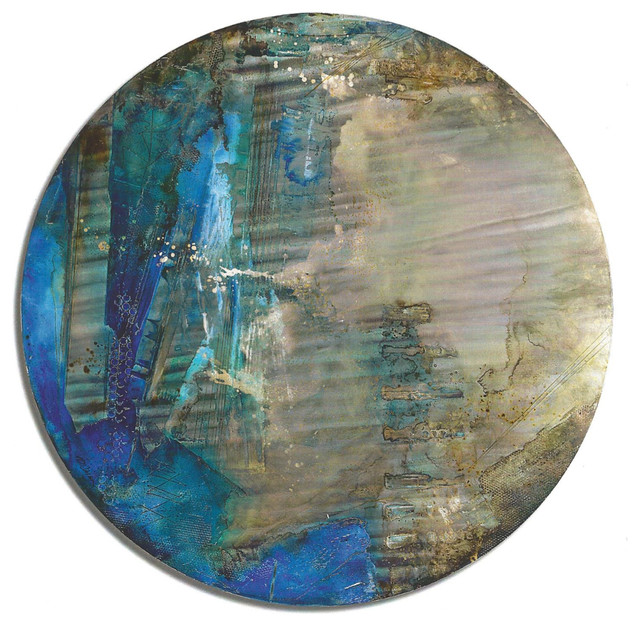 """""""carney Azurite"""" Mixed Media Painting On Metal."""