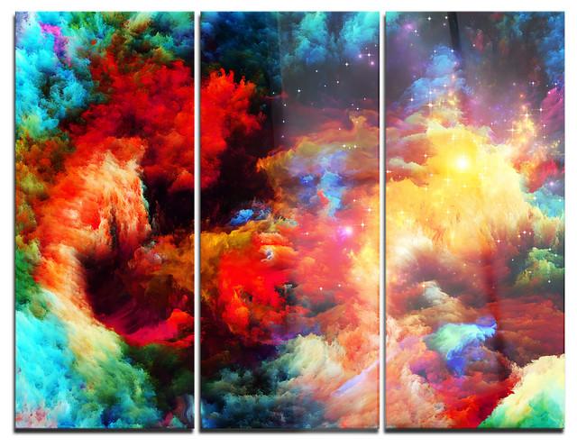 Fractal Paint Fusion Art Glossy Metal Wall Art 3 Panels 36 X28